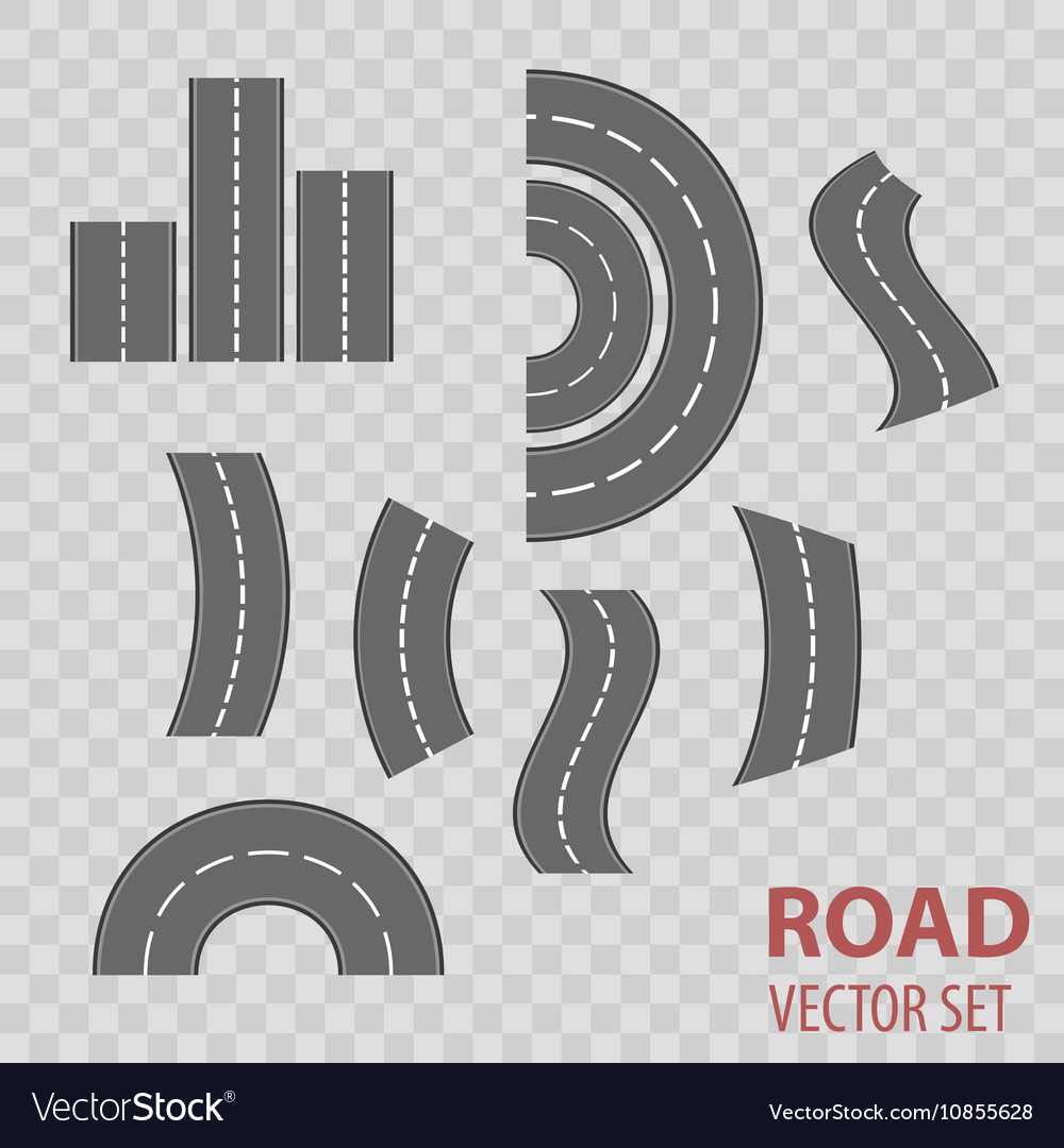 Set of grey roads Concept location vector image