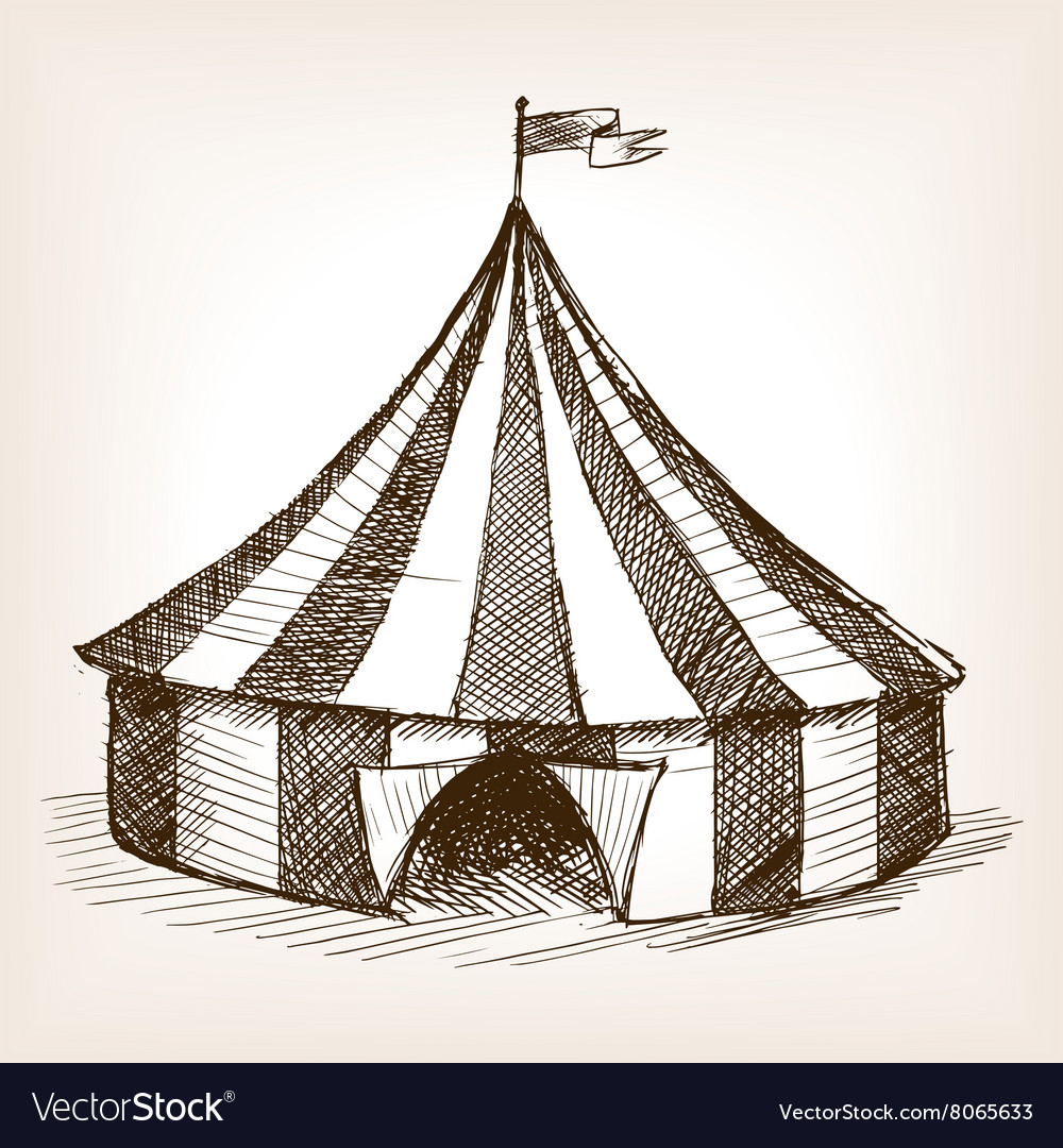 Circus tent hand drawn sketch