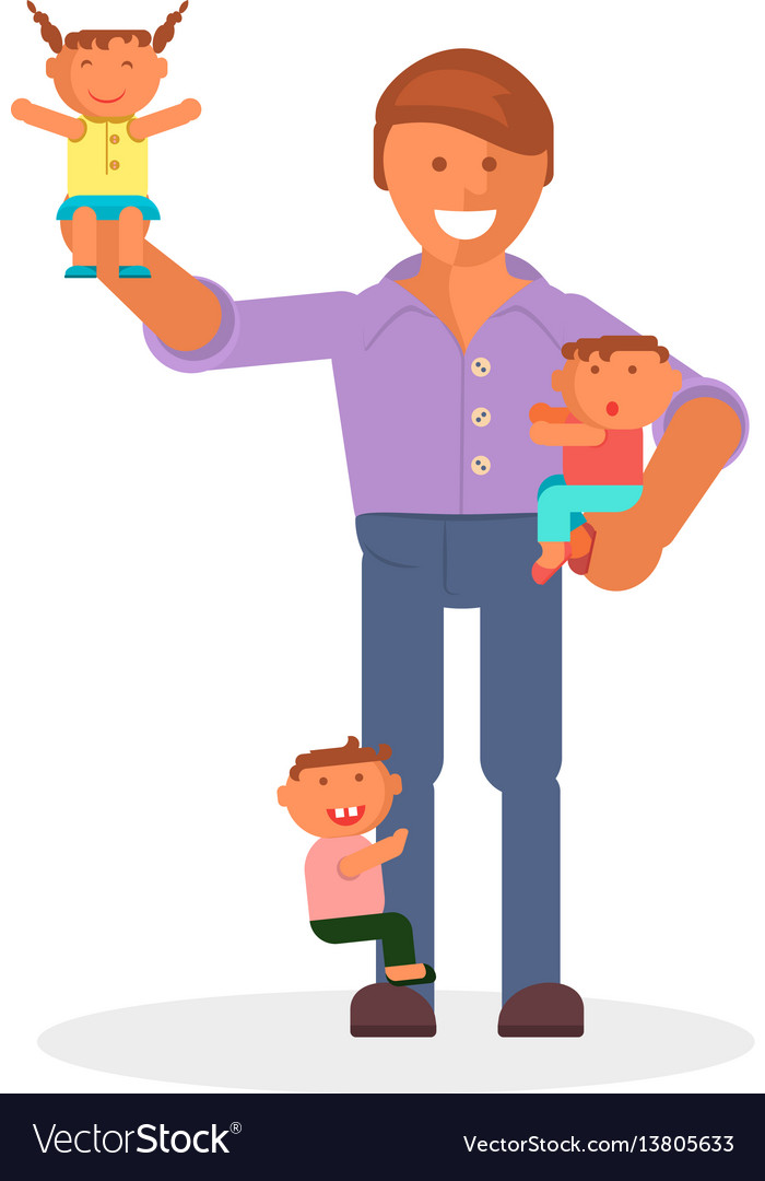 Dad and children
