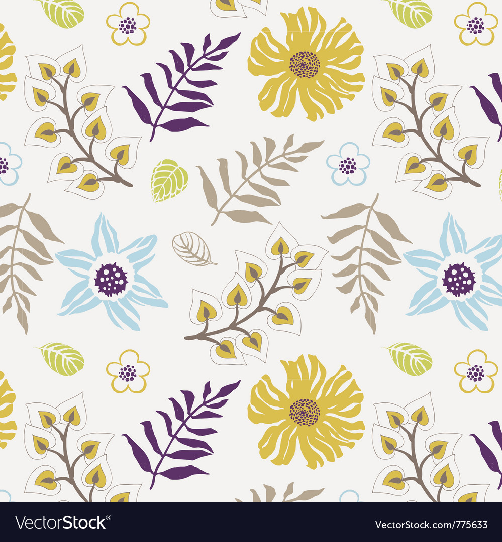 Floral Wallpaper Print Royalty Free Vector Image