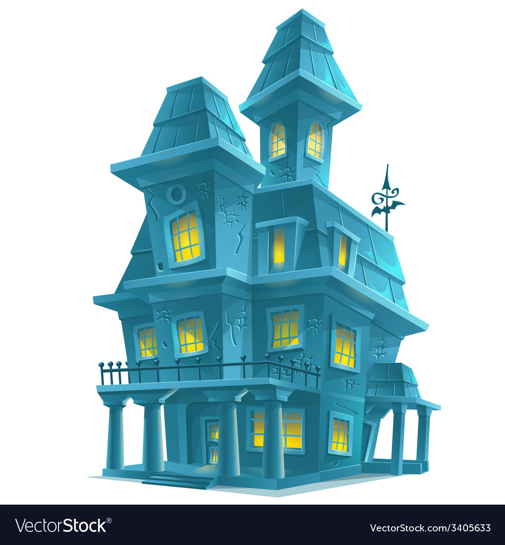 Preview scary haunted house in halloween on white vector image