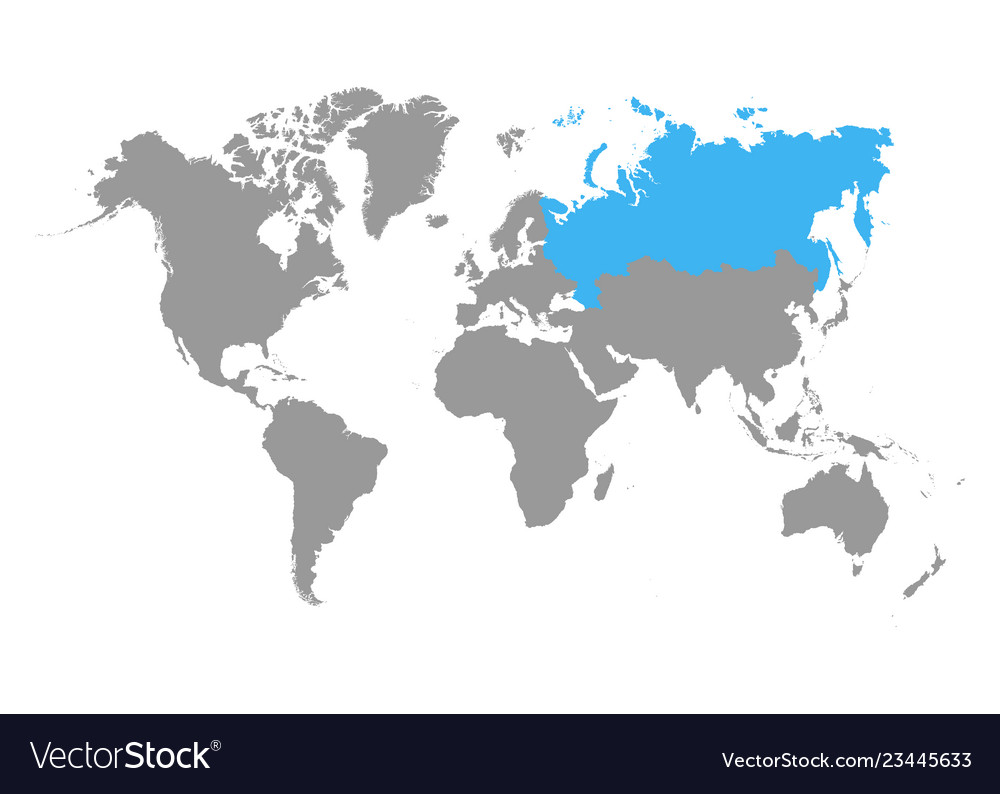 Russia map selected blue color on world map