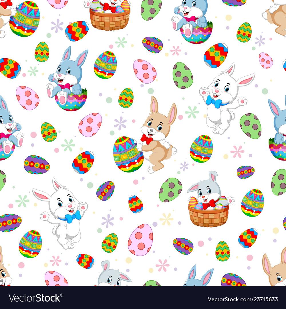 Seamless pattern easter bunnies