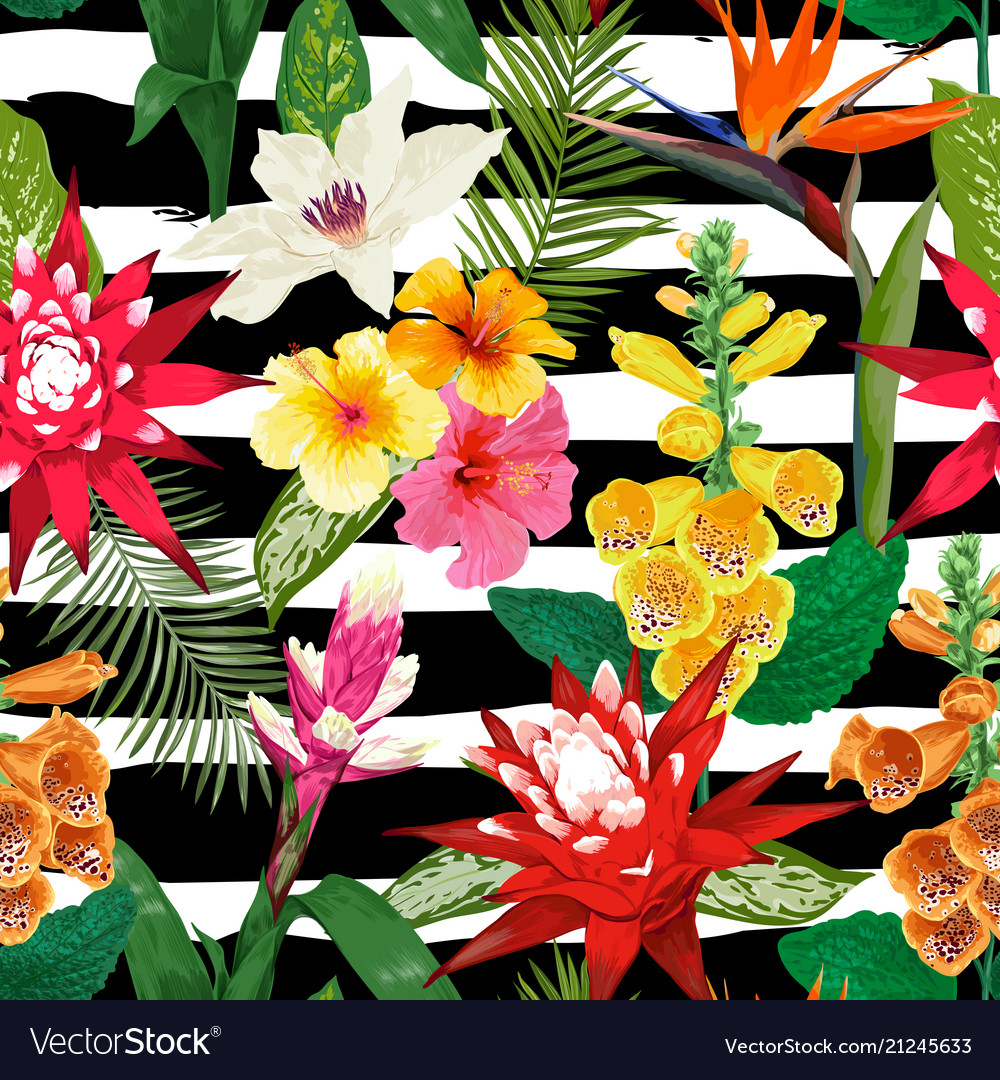 Tropical Flowers Seamless Pattern Summer Floral Vector Image