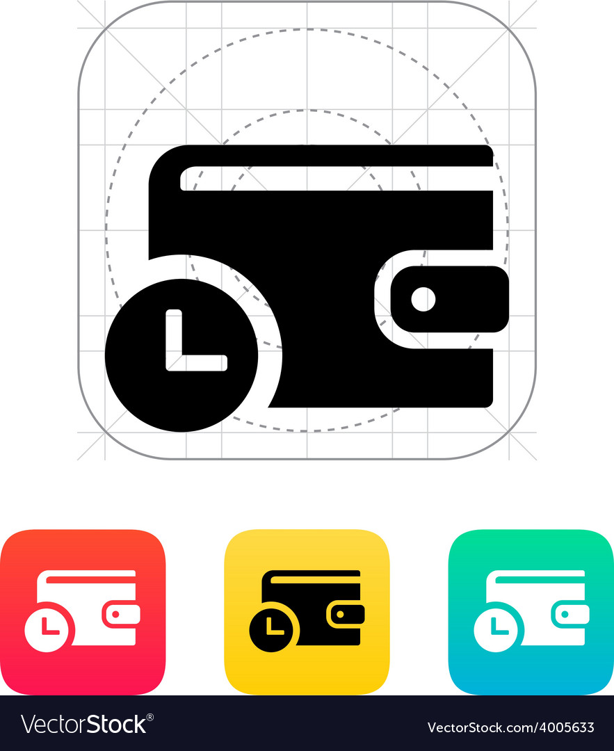 Wallet with timer icon vector image