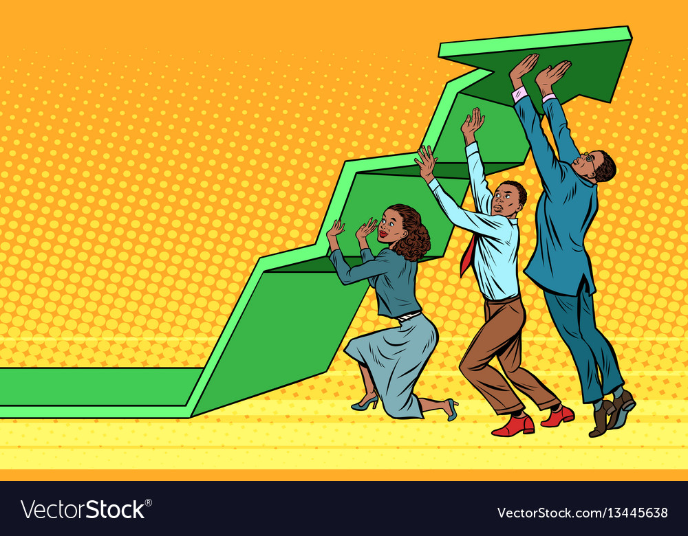 Business team lift up growth chart african