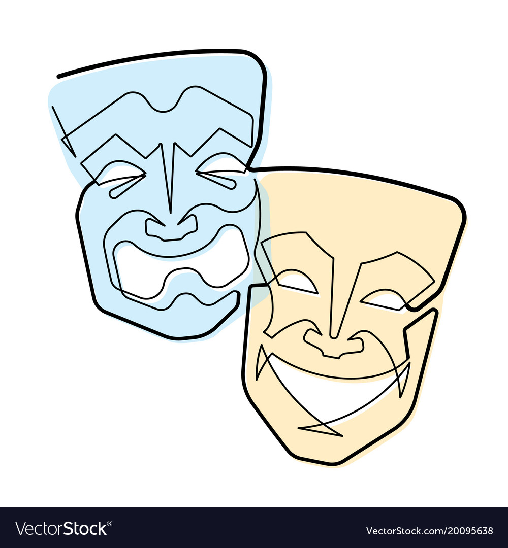 continuous line comedy and tragedy masks vector image