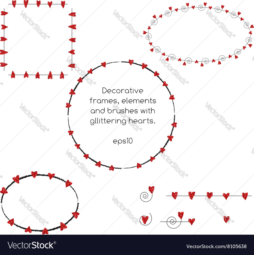 Decorative frames with red glittering hearts