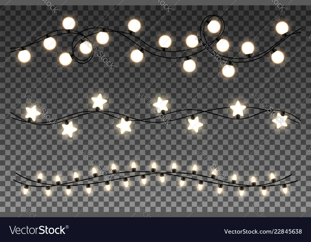 Glowing lights isolated on transparent background