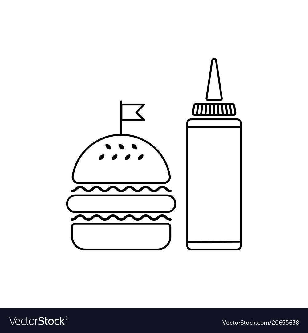 Hamburger with sauce bottle