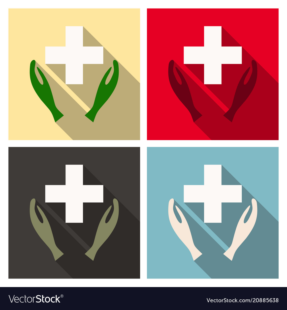 medical distribution care hands flat icon