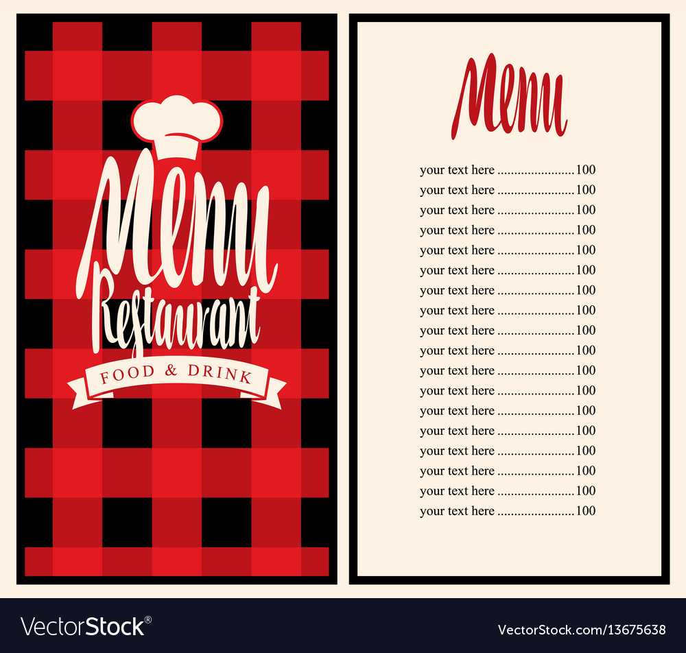 Menu for the restaurant with price list and toque