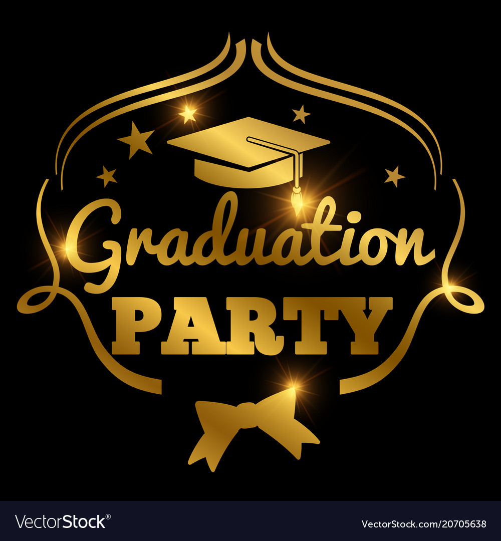 Shining golden graduation party banner background vector image