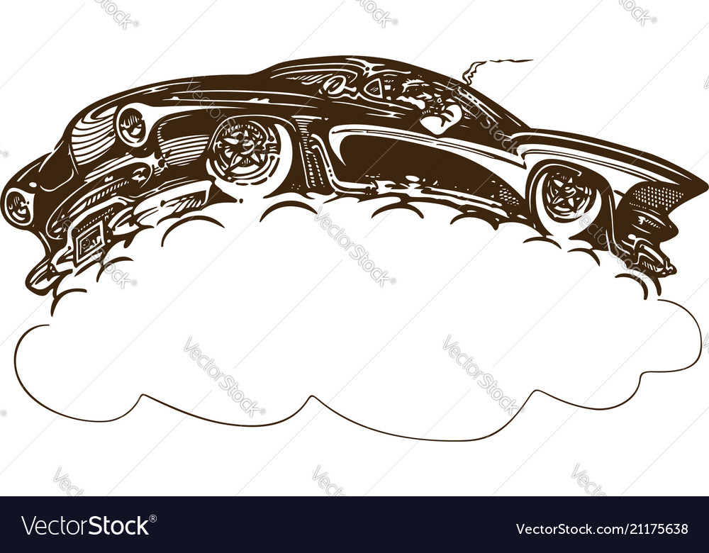 Vintage muscle cars inspired cartoon sketch