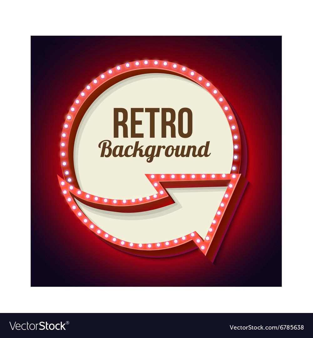 Volume retro circle with an arrow and light bulbs