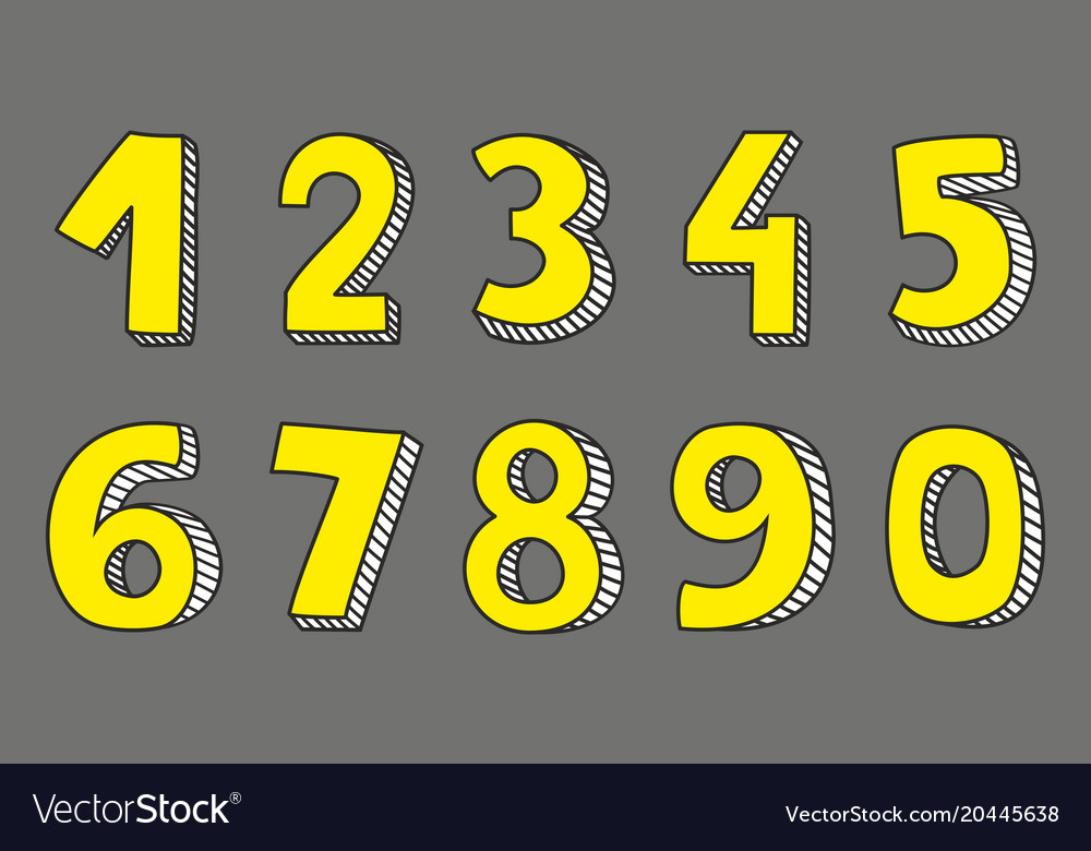 Yellow numbers isolated on grey background vector image