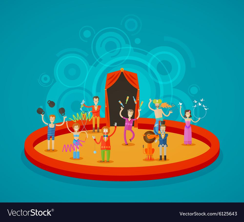 Circus performers at arena