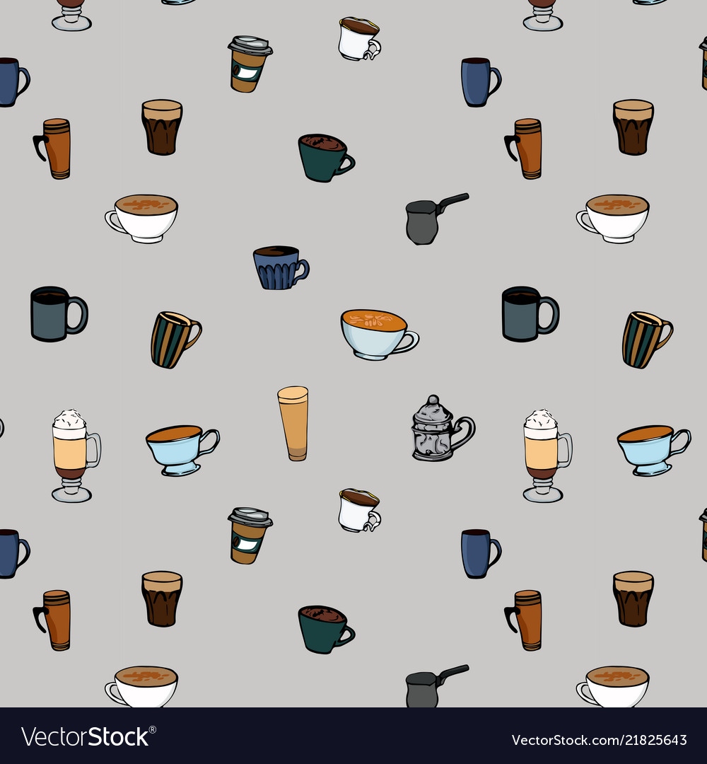 Coffee cups seamless pattern hot drinks