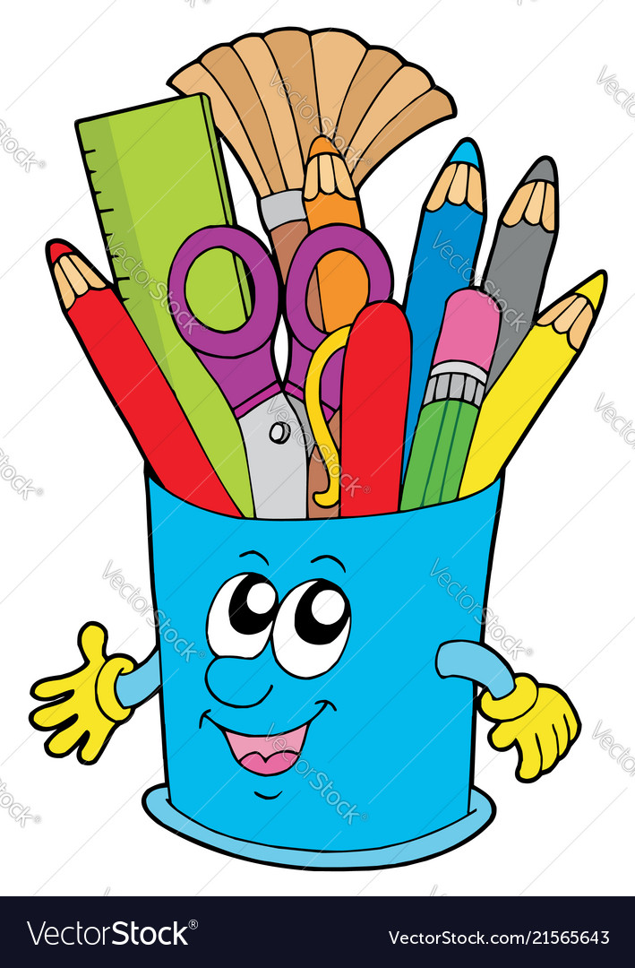 cute cup with crayons royalty free vector image