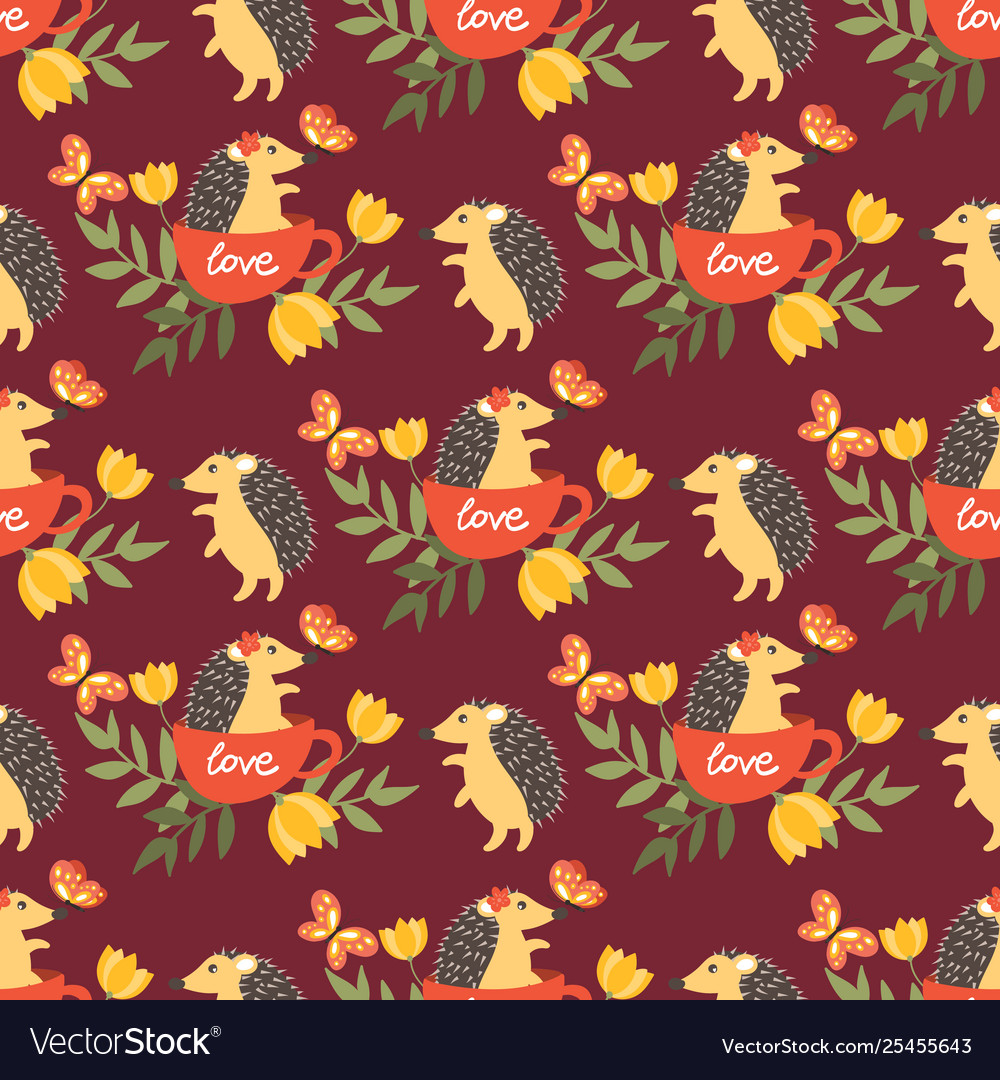 Cute porcupine seamless pattern