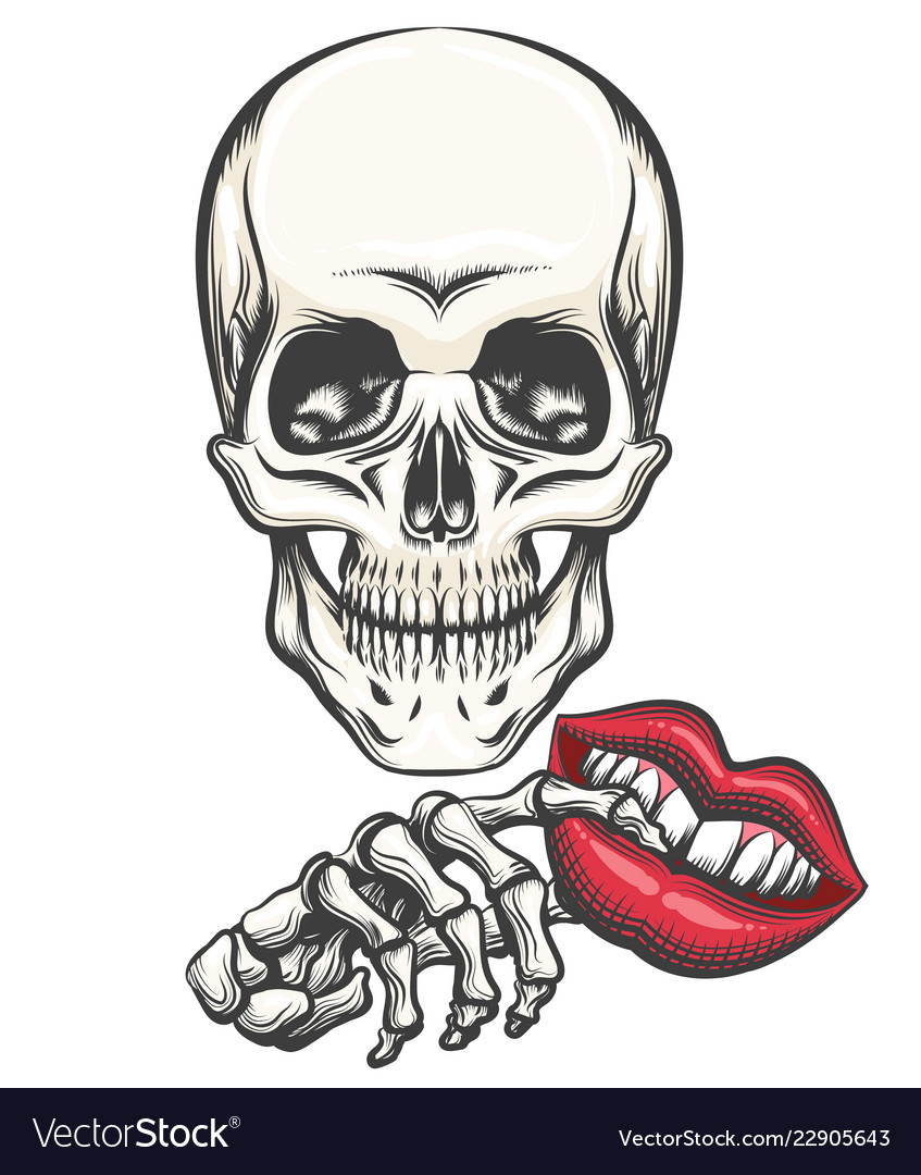 Death with toy lips in a hand