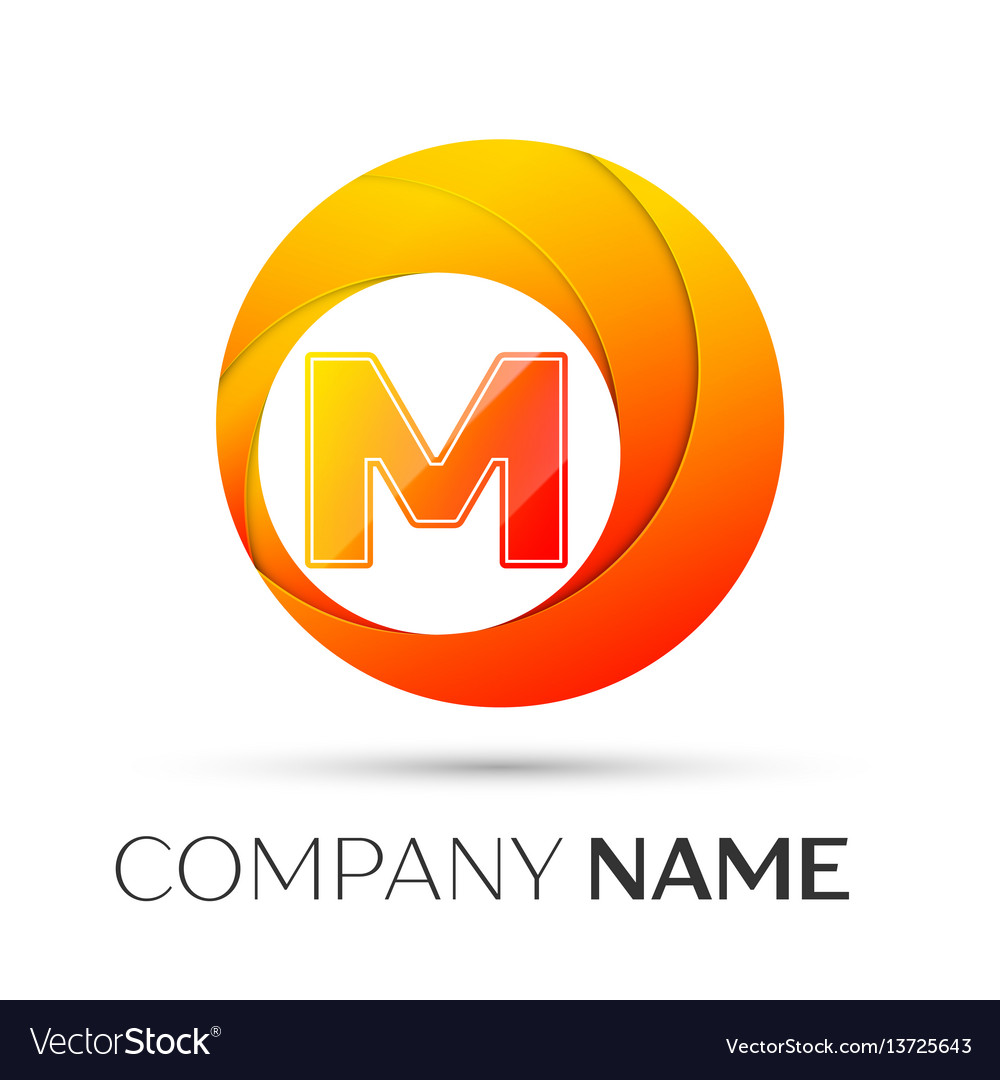Letter m logo symbol in the colorful circle on