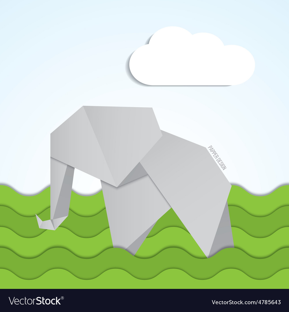 Paper origami elephant icon on background vector image