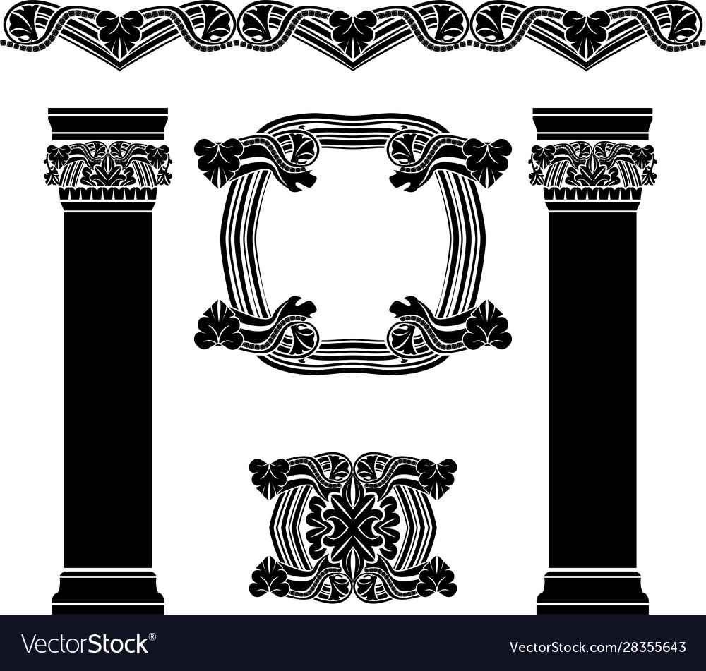 Set decorative elements columns pattern