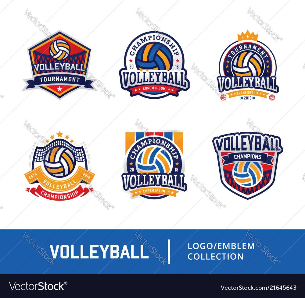 Set of volleyball badge design logo emblem