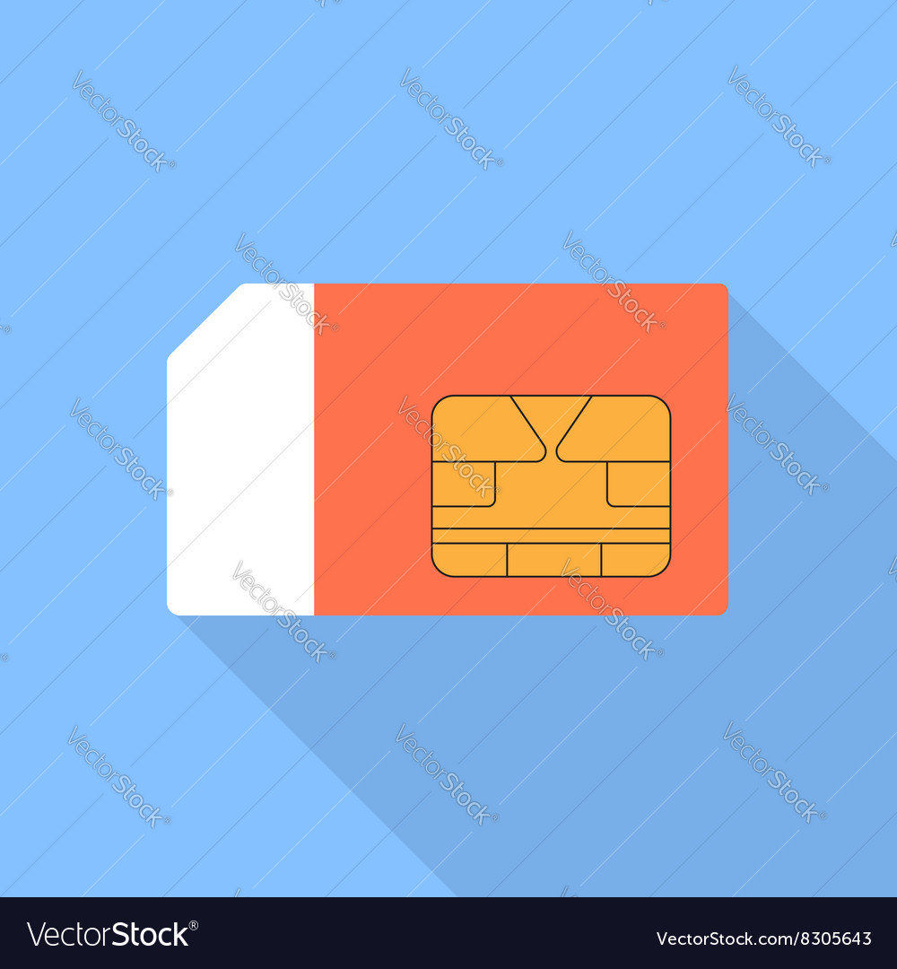 Sim card of a flat design