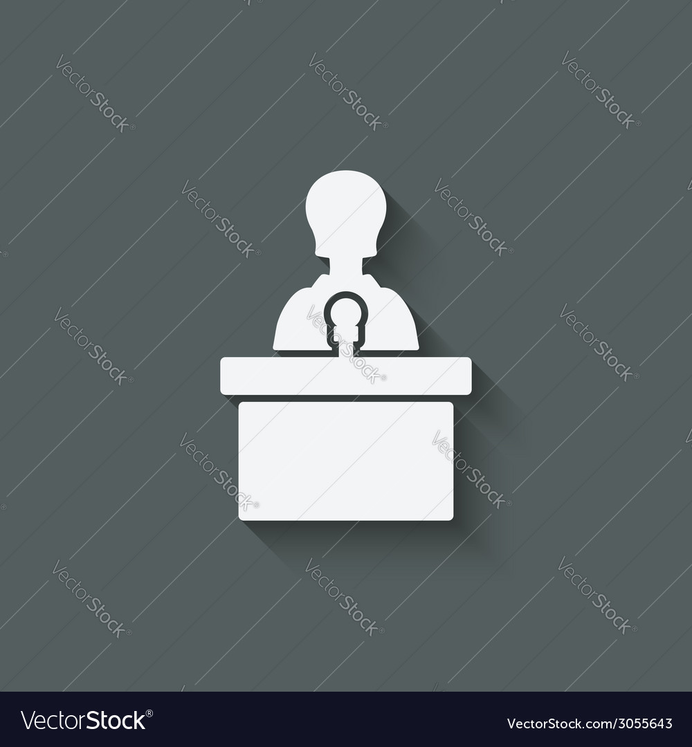 Woman on podium with microphone
