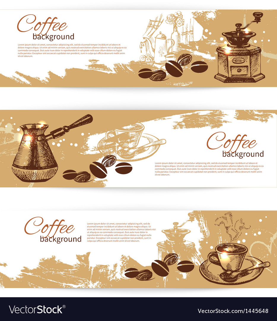 Banner set of vintage coffee backgrounds