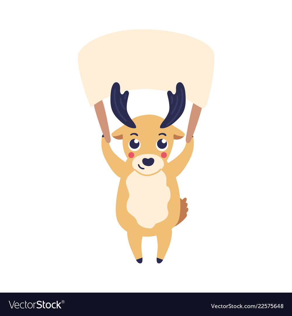 Cartoon reindeer holding
