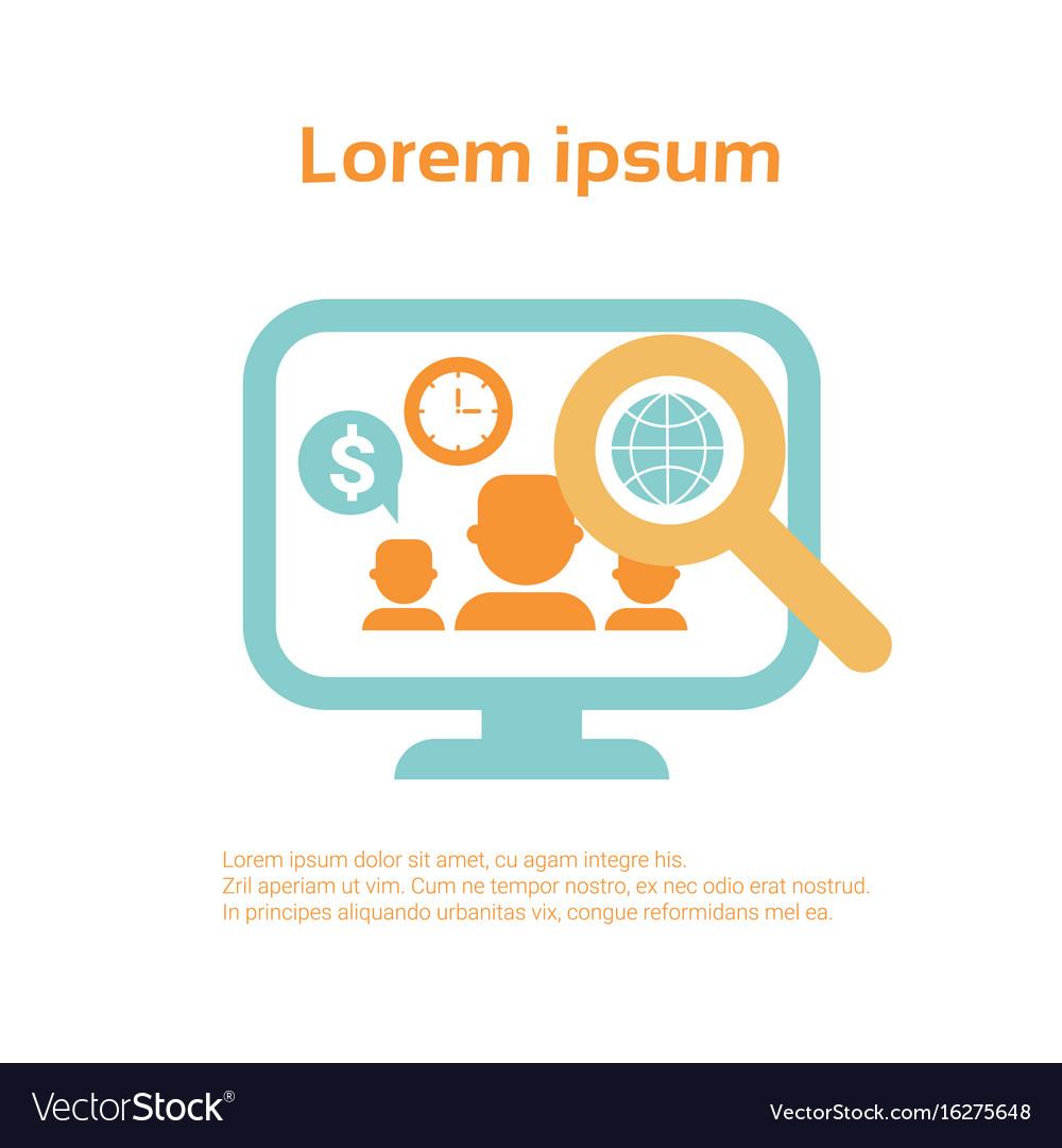 Computer monitor business economic infographics vector image