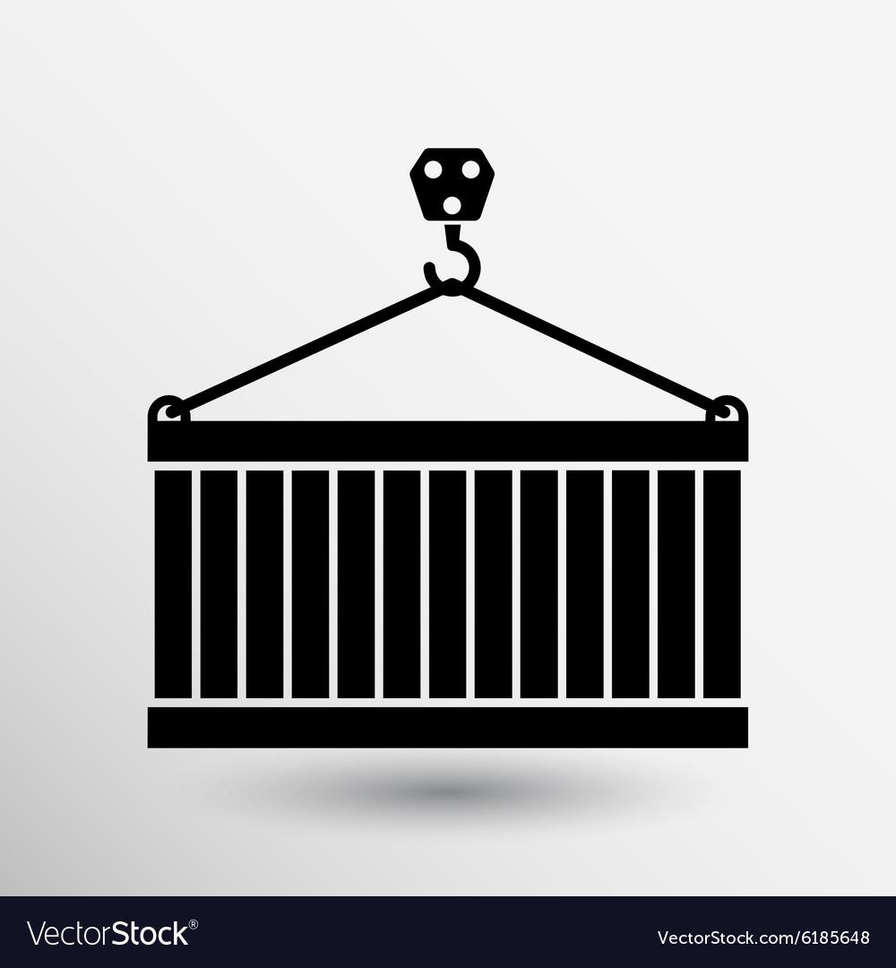 Crane container icon button logo symbol concept