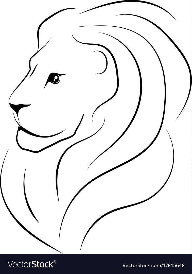Head Lion Sideways Black Outline Royalty Free Vector Image Isolated black outline head of lion on white background line. vectorstock