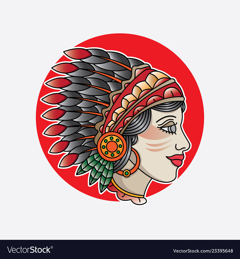 Indian girl head flash tattoo