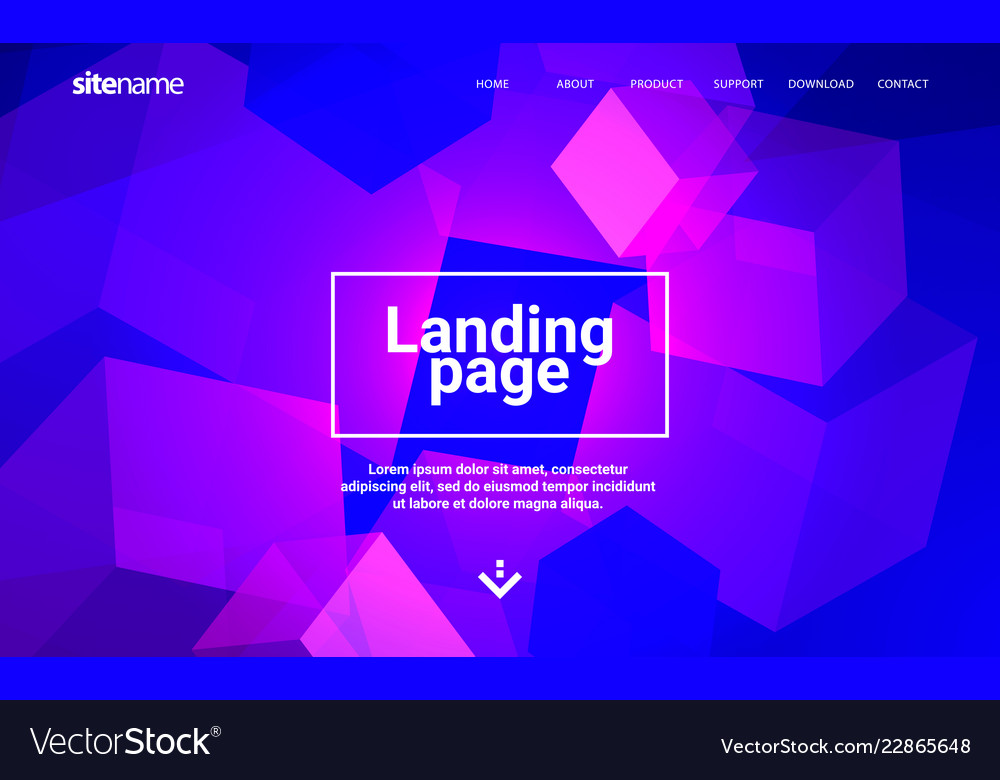 Landing page design with geometric abstract shapes