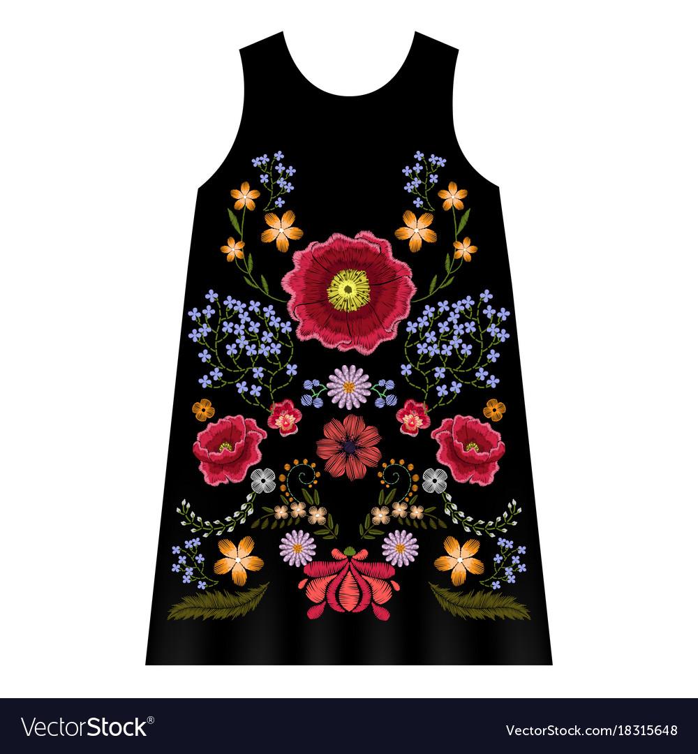Poppy embroidery dress