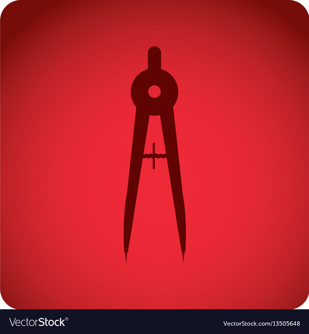 Red emblem compass school tools icon vector image