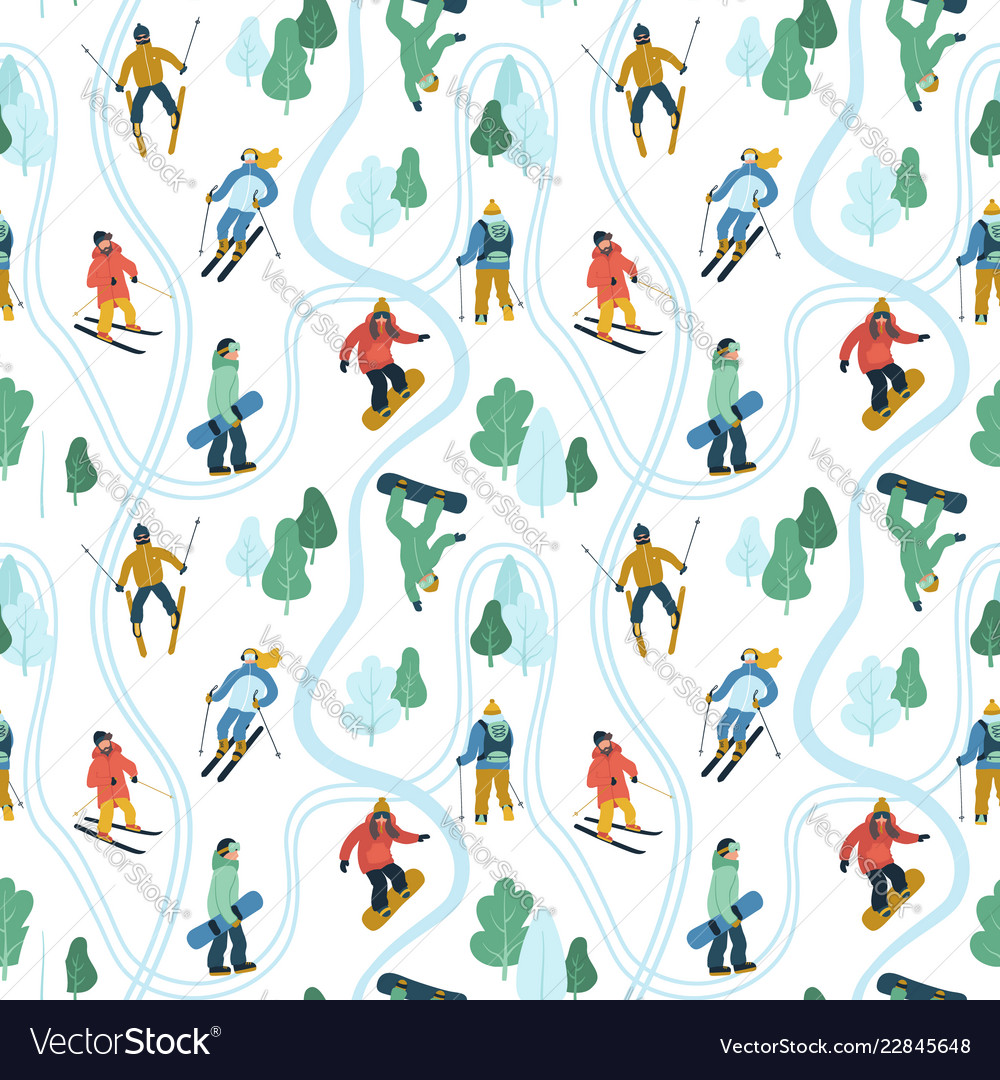 Seamless pattern with young people at mountain