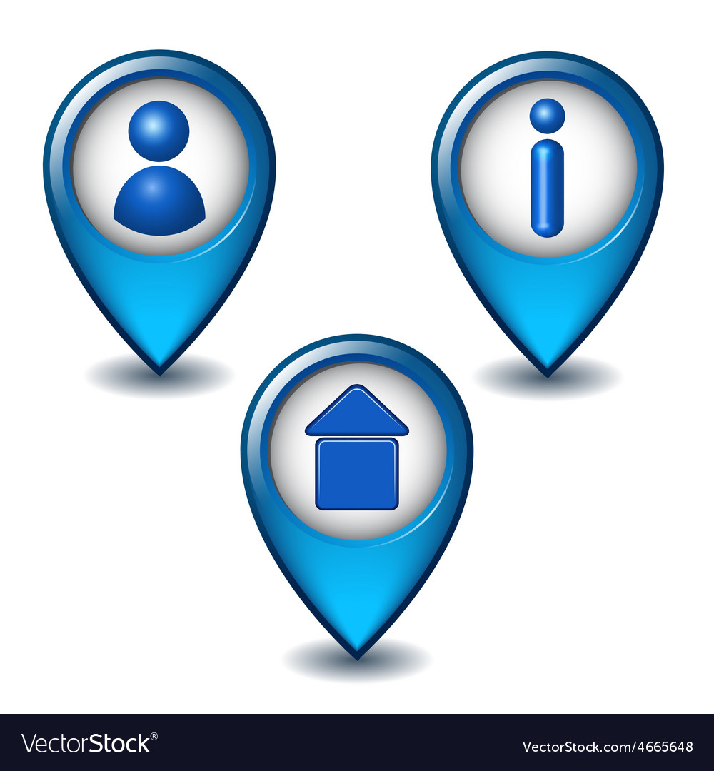 Set of blue map pointer icon