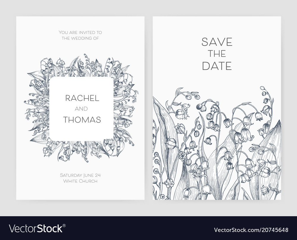 Set of wedding party invitation and save the date