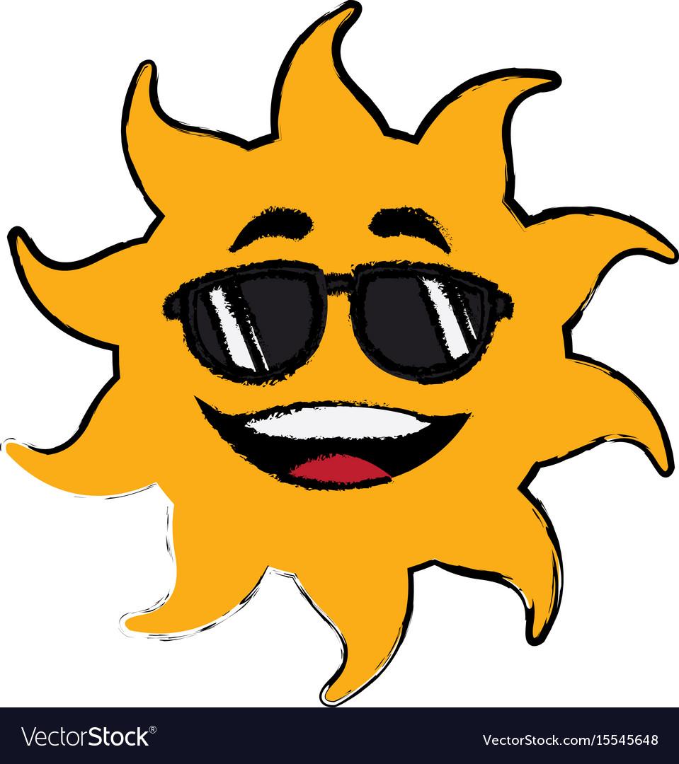 Sun cartoon sunglasses mascot character vector image