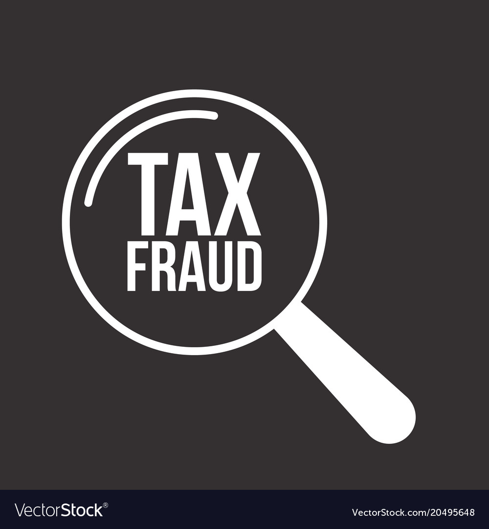 Tax fraud word magnifying glass