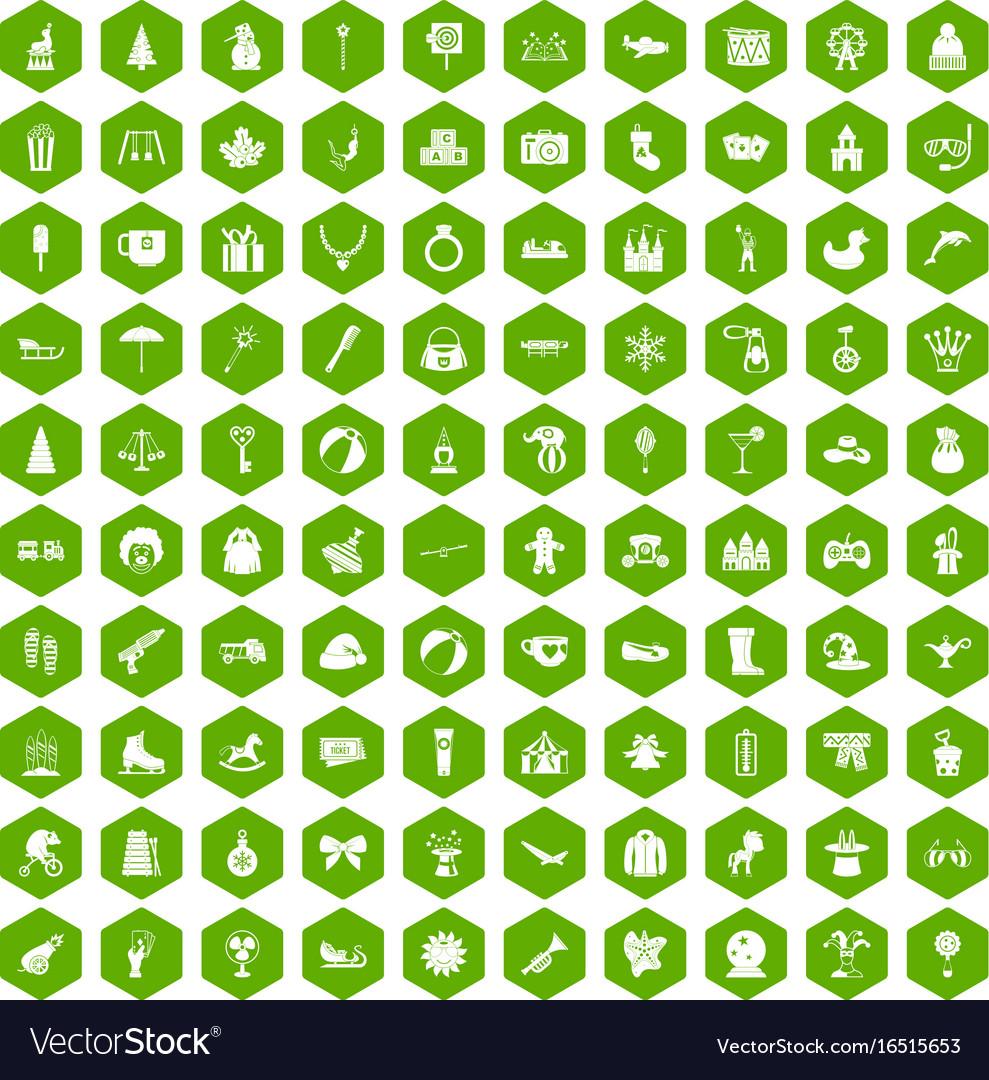 100 children icons hexagon green