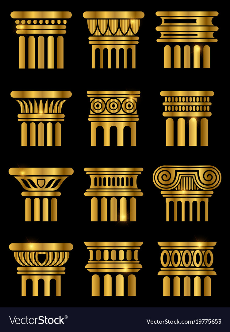 Ancient architecture column vector image