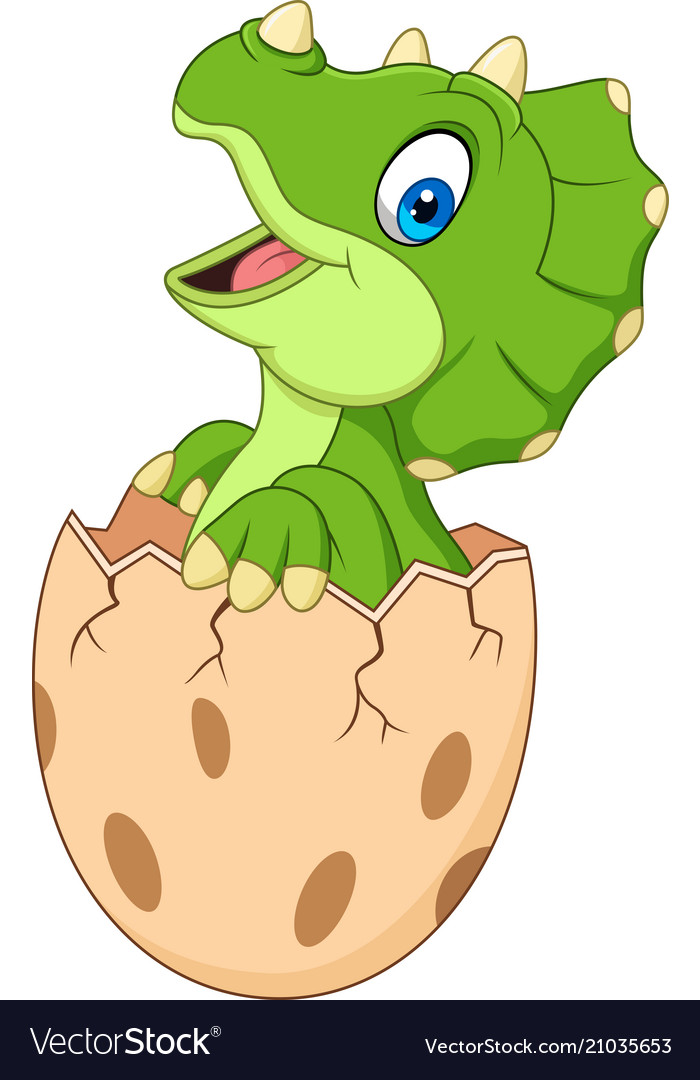 Cartoon baby triceratops hatching from egg