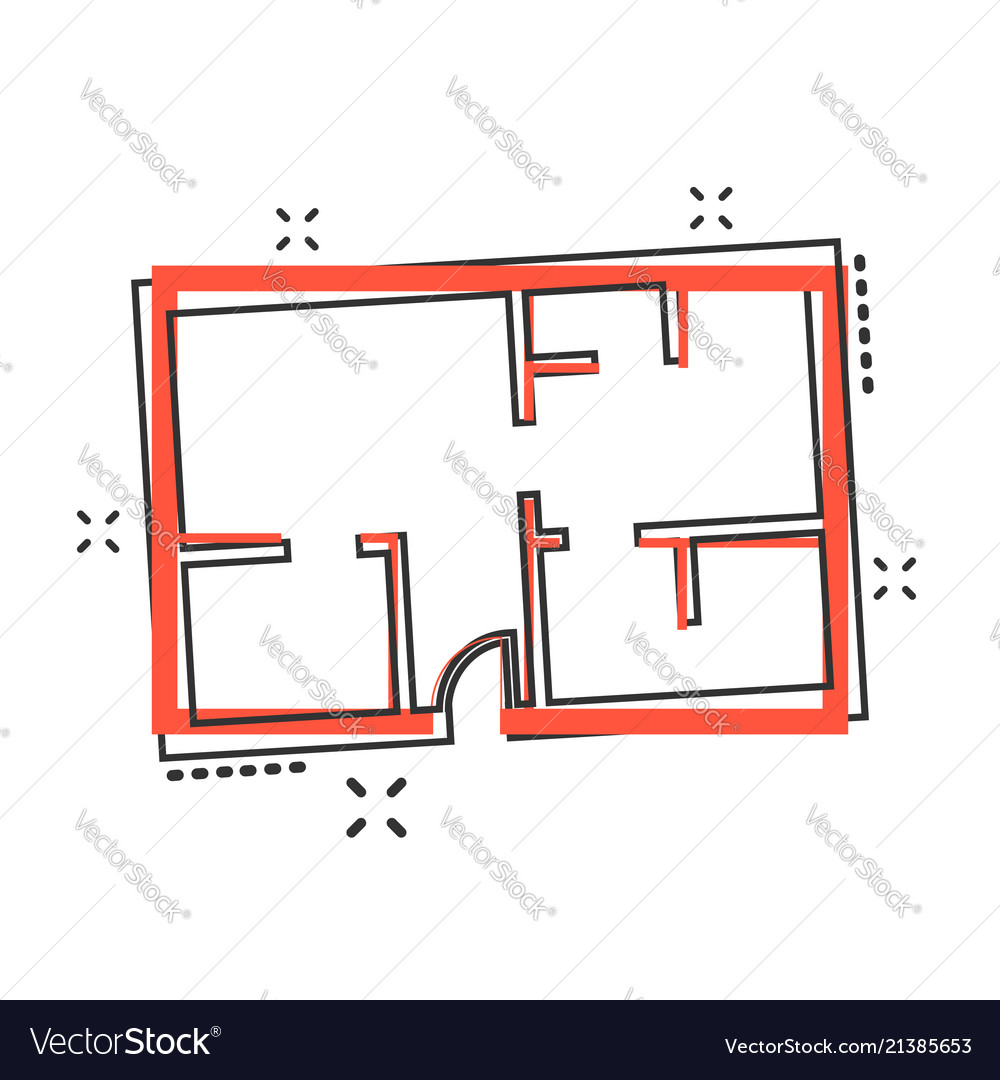 Cartoon house plan icon in comic style architect