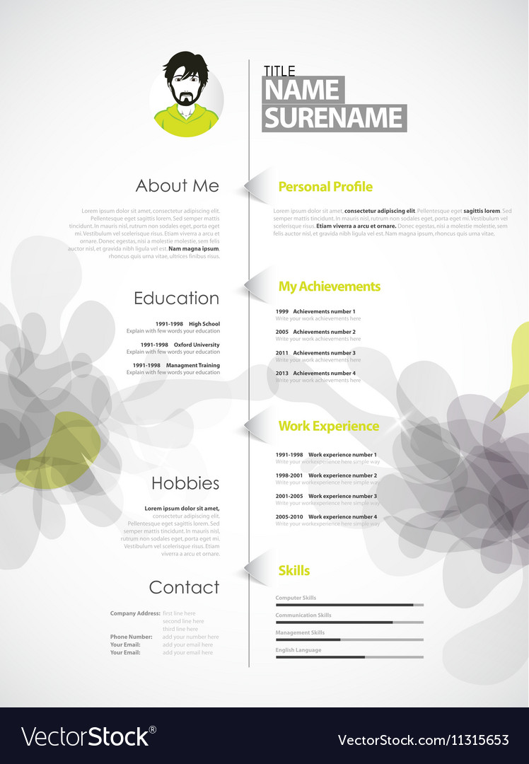 creative color rich cv resume template with grey vector image